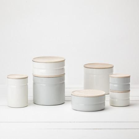 Perfectly stackable and beautiful for countertop storage, each of these canisters is hand-formed from a single piece of steel, then coated four times in high-gr