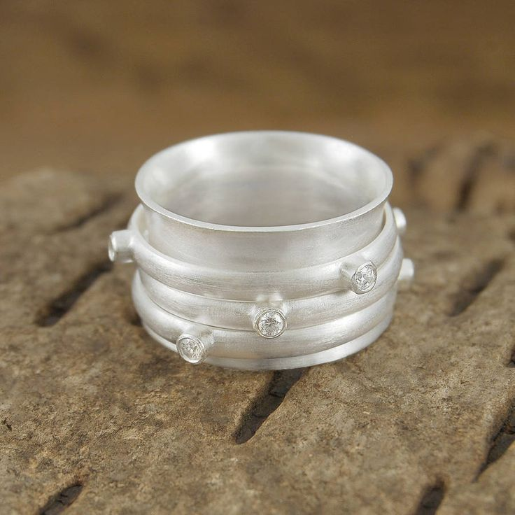 White Topaz Sterling Silver Chunky Spinning Ring - This stunning sterling silver ring, with its tactile spinning bands and faceted white topaz stones is playful, unique and on-trend. #Embersjewellery #Jewellery #Stacking #Ring #Women