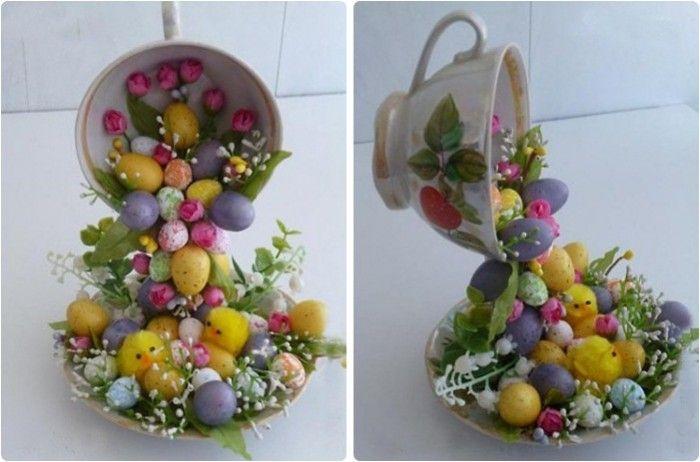 DIY decor crafts easter eggs chicks artificial flowers