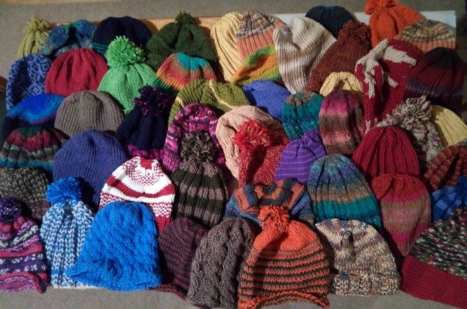 Well here are all 50 The plan is to donate them through Knit4Charities