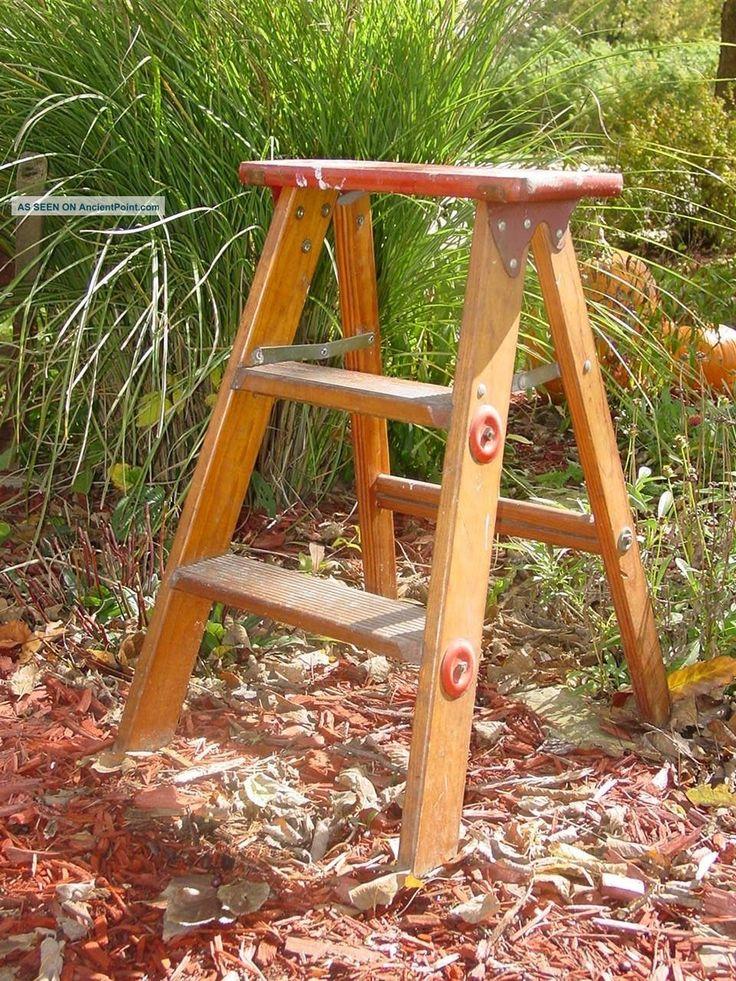 Vintage Primitive Wood Folding Step Stool 2 Step Ladder Fold Out Ladder Country 1900-1950 photo