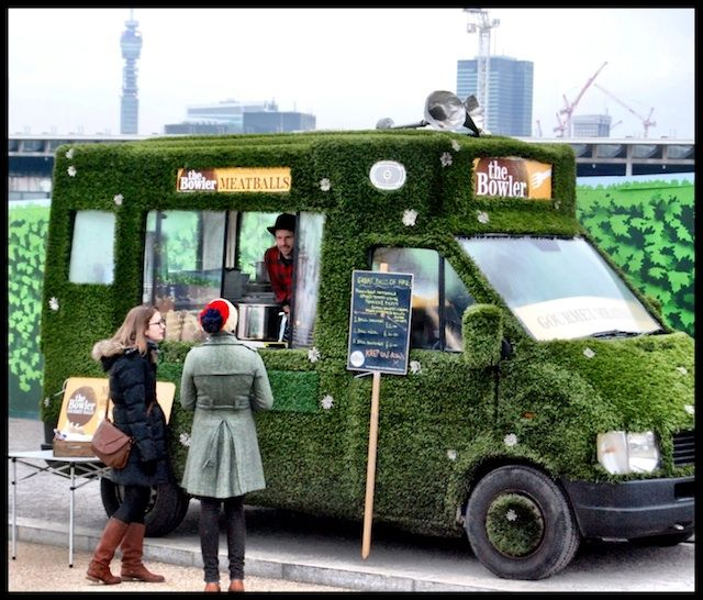 Grass-covered London meatball truck The Bowler. I remember Innocent drinks doing this back in the day