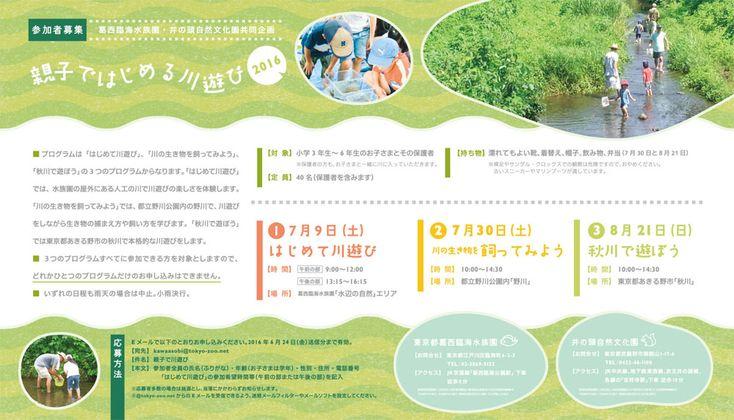 葛西臨海水族園・井の頭自然文化園共同企画「親子ではじめる川遊び」参加者募集! | 東京ズーネット