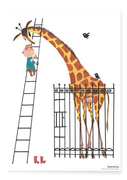 Poster reuze Giraf A2 Poster met illustratie giraf van Fiep Westendorp. Afmeting: 42 x 59,4 cm. Kinderposter kinderkamerposter babykamerposter kinderkamer babykamer decoratie Dikkertje dap