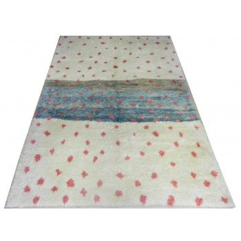 213x305 cm Ivory & Red and Turquoise Blue MOROCCAN Berber Beni Ourain Design Rug, HANDMADE, 100% Wool