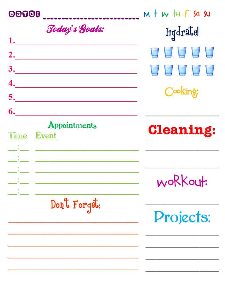 Lizzy And Janeu0027s: Free Printable: 2013 Daily Planning Page  Day To Day Planner Template Free