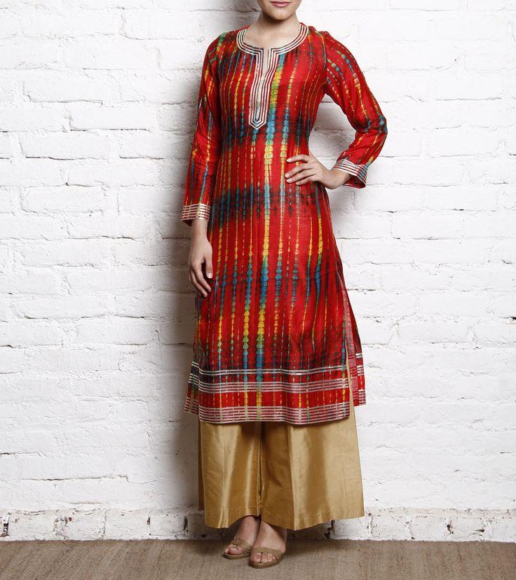 Red & Beige Tie Dyed Cotton Silk Kurti With Pallazo Rupali Singh