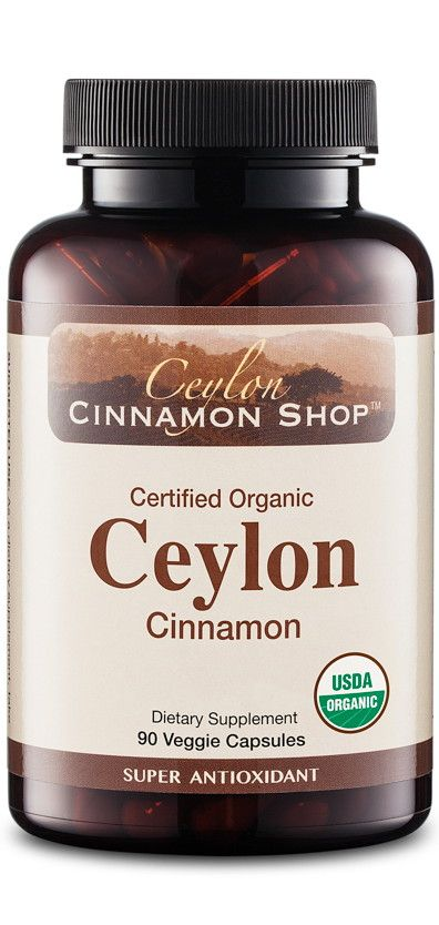 Benefit from the finest quality Ceylon cinnamon supplement available. Our cinnamon comes directly from Ceylon (Sri Lanka) where growing conditions are ideal for this native species. Each capsule contains premium grade organic cinnamon with no fillers or additives.   ♦ Super Antioxidant  ♦ Helps Lower Cholesterol Levels  ♦ Reduces Inflammation & Joint Pain  ♦ Supports Healthy Blood Sugar Levels  ♦ Certified Organic Ceylon Cinnamon (500 mg capsule) (100% vegetarian)