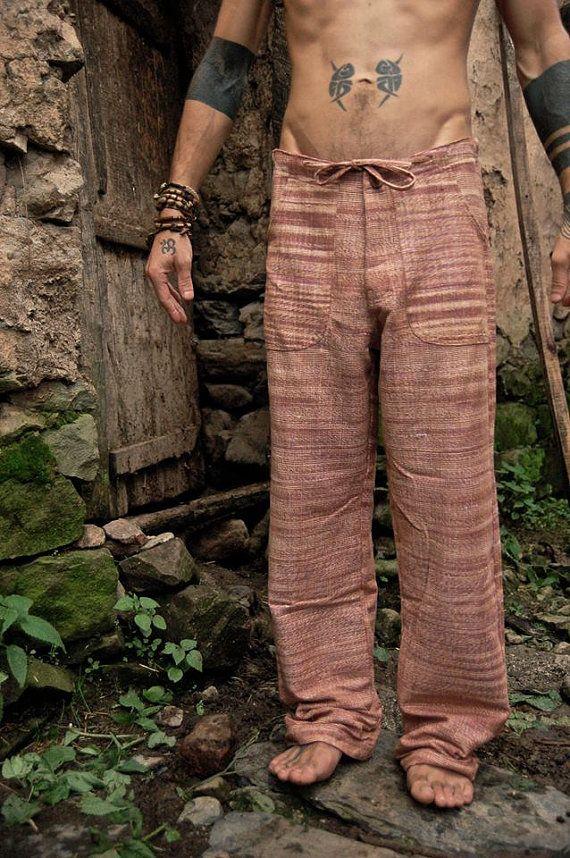 Pantalón recto de khadi por PrimitiveTribalCraft en Etsy