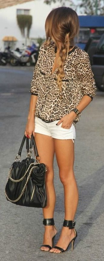 Street Style | animal print blouse + black heels & bag [shorts are too short]