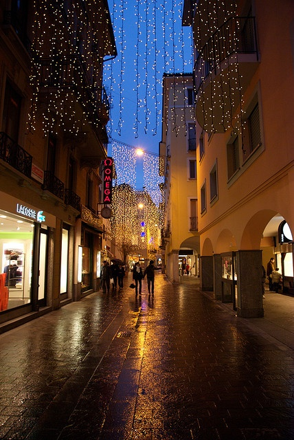 Lugano at Christmas aah the lights are magical and the smell of roasting chestnuts in the piazza.