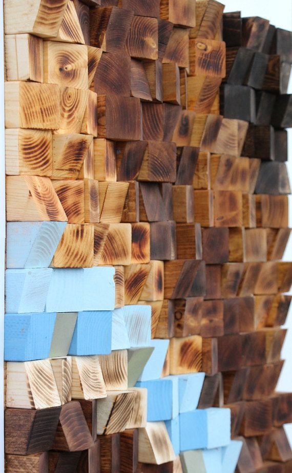 Woodburning Reclaimed Wood wall Art Wood mosaic by GBandWood