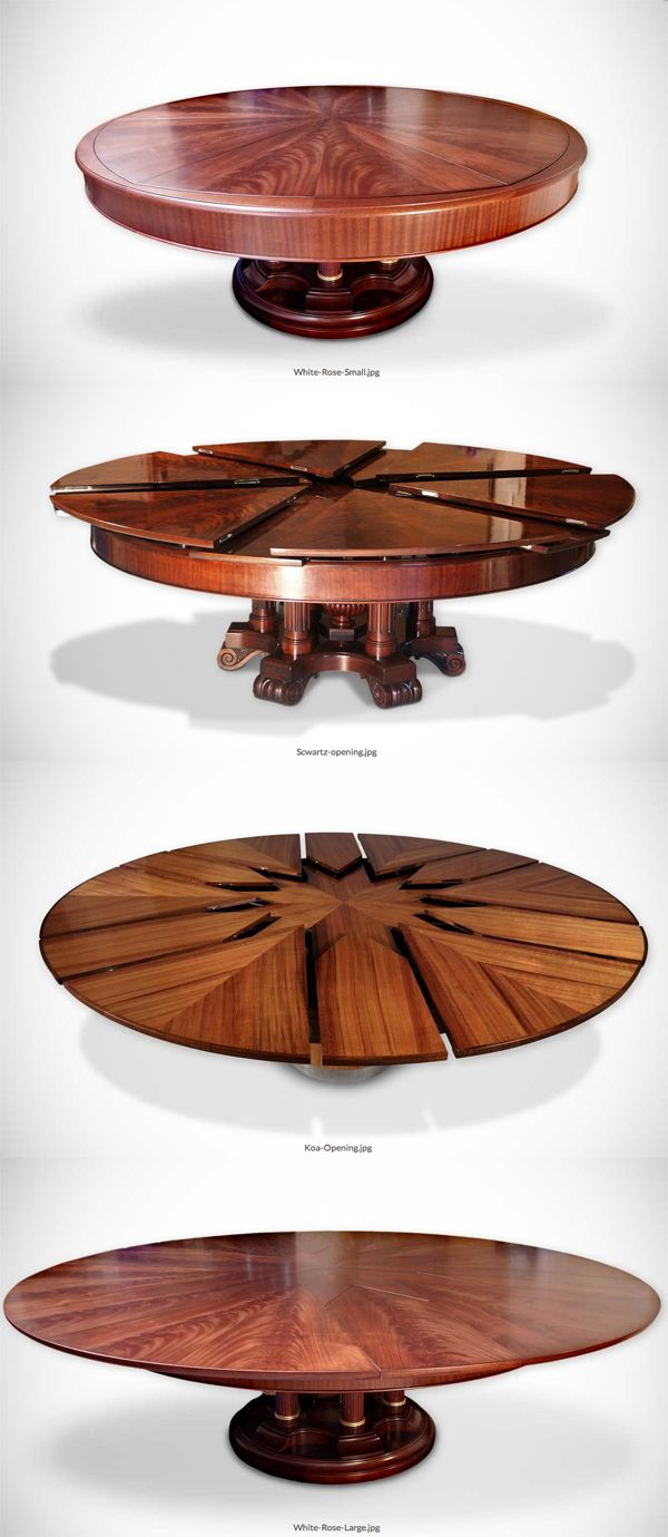 The Fletcher Capstan Table expands by simply spinning the table top - a beautiful and ingenious design