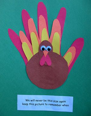 Family Handprint Turkey ~ send construction paper home for family to trace hands ~ great gift to send home for the holiday!