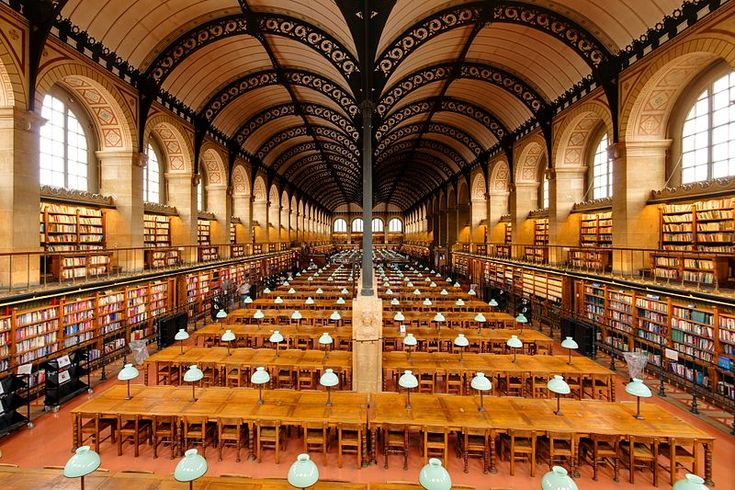 BIbliotheque sainte genevieve, Paris.  Architect Henri Labrouste's visible use of iron, reminiscent of the new railway stations, in the venerable location of a library broke new ground, c 1845.