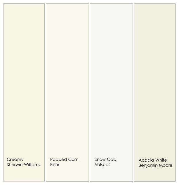 Warm white trim paint from left to right 1 creamy for Warm cream paint colors