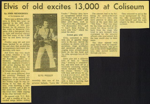 Elvis Newspaper Concert Review for Portland Oregon, according to the paper he still has it and this is only 4 years before we lost him phttps://www.profilesinhistory.com/auctions/rock-roll-auction-59-2/Portland Oregon April 1973