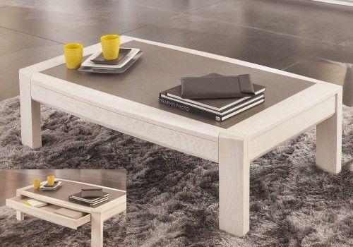 Meublea - Collection Ottawa. Table basse avec possibilité d'un plateau en céramique. tiroir se situant en dessous de ce plateau.  Dimensions : L 120/ H 38.5 / P 68
