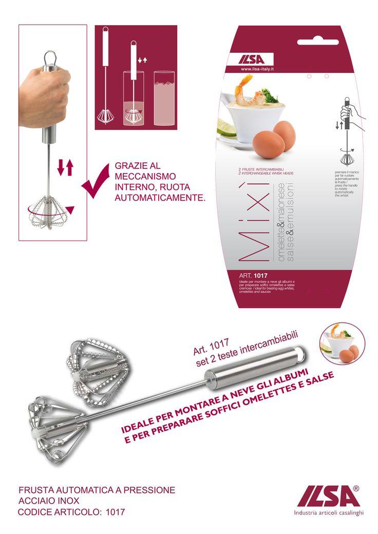 MIXI' frusta automatica a pressione, ideale per montare a neve gli albumie per preparare soffici omelettes e salse cremose