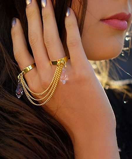 Gold Swarovski Crystal Double Finger Hand Chain Ring ...