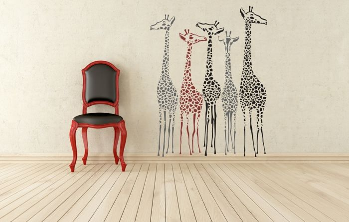 kreative wandgestaltung wohnzimmer wandtattoo giraffen wanddekoration interior wallpapers. Black Bedroom Furniture Sets. Home Design Ideas