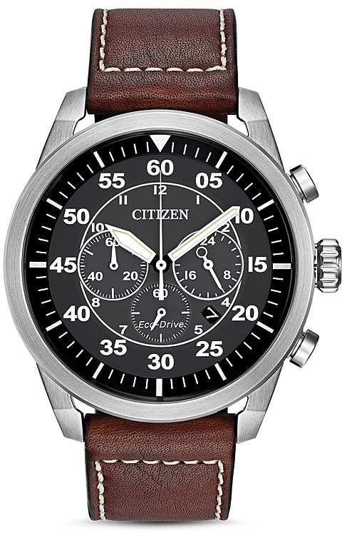 Citizen Avion Watch 45mm Brown Leather Strap Watch Citizen Watches Eco Drive Citizen Watch