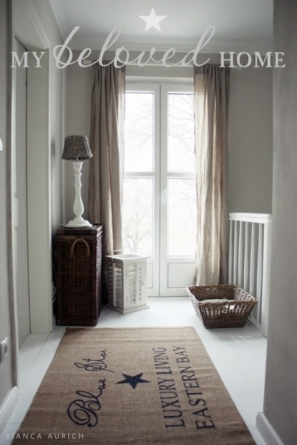 Basketry, Shutters, Shutter Lantern: Riviera Maison; Area Rug: Impressions; Lights: Country Home Interiors; Wall Color: French Linen Painting the Past Perfect French doors to outside