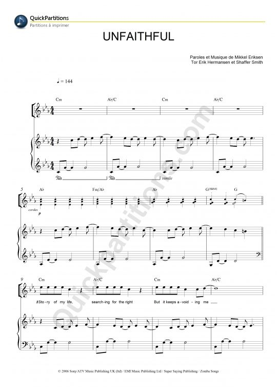 Piano : unfaithful piano chords Unfaithful Piano Chords - Unfaithful Pianou201a Piano