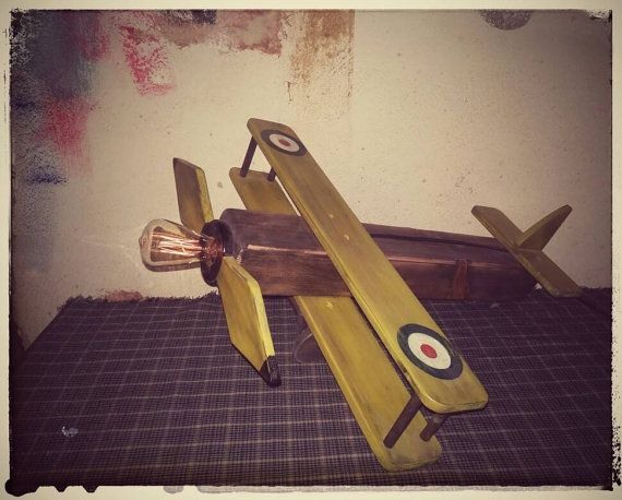 Check out this item in my Etsy shop https://www.etsy.com/listing/384906688/wooden-biplane-industrial-table-lamp
