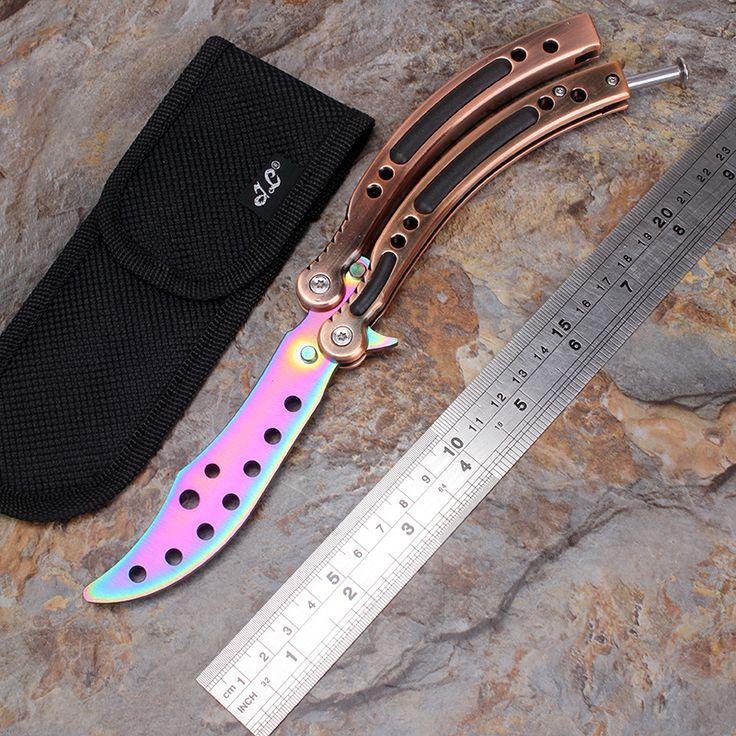 CSGO Stainless Steel knife Butterfly training knife fade cs go counter strike karambit Titanium balisong knife dull tool no edge