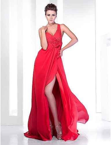A-line One Shoulder Court Train Chiffon Evening Dress With Split Front - USD $ 199.99 - Free shipping for all
