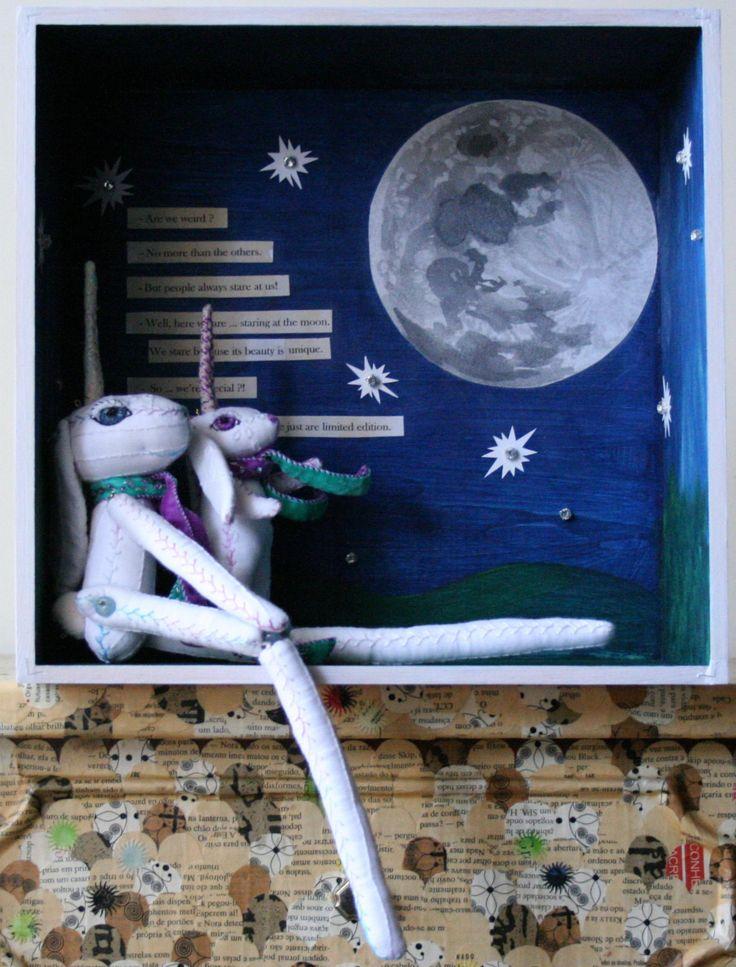 Unicorn Hare Diorama - Hare Art Doll - Bunny Diorama - Easter Bunny - Easter Decoration - Nursery Decor - Textile Art - OOAK Art Doll by BlackCatCreativeStd on Etsy https://www.etsy.com/listing/167043756/unicorn-hare-diorama-hare-art-doll-bunny