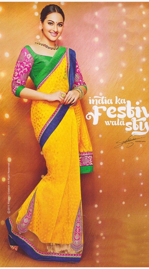 18 best images about Sonakshi Sinha Sarees on Pinterest ... Sonakshi Sinha In Blue Saree