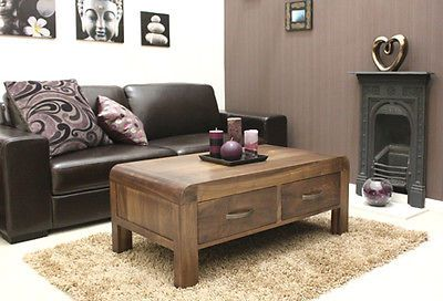 Shiro solid walnut furniture 4 drawer coffee table & felt pads floor protector