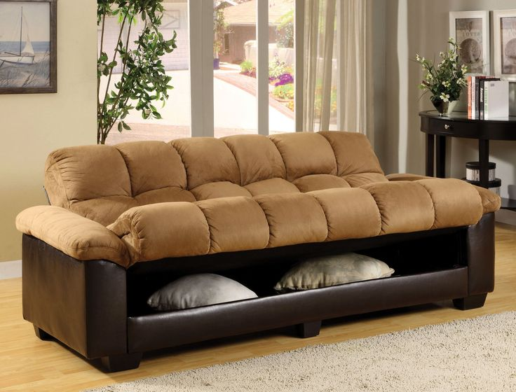 Brantford Futon Sofa CM6685-PU Description: Enjoy the comfort and style of this futon sofa in plush elephant skin microfiber and espresso leatherette. The futon converts easily to a bed and has a larg