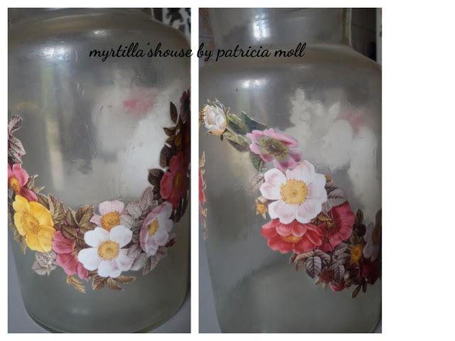 myrtilla'shouse: Vetro - Linky Party 2017 #4 - vaso di vetro decorato con ritagli di carta riciclata