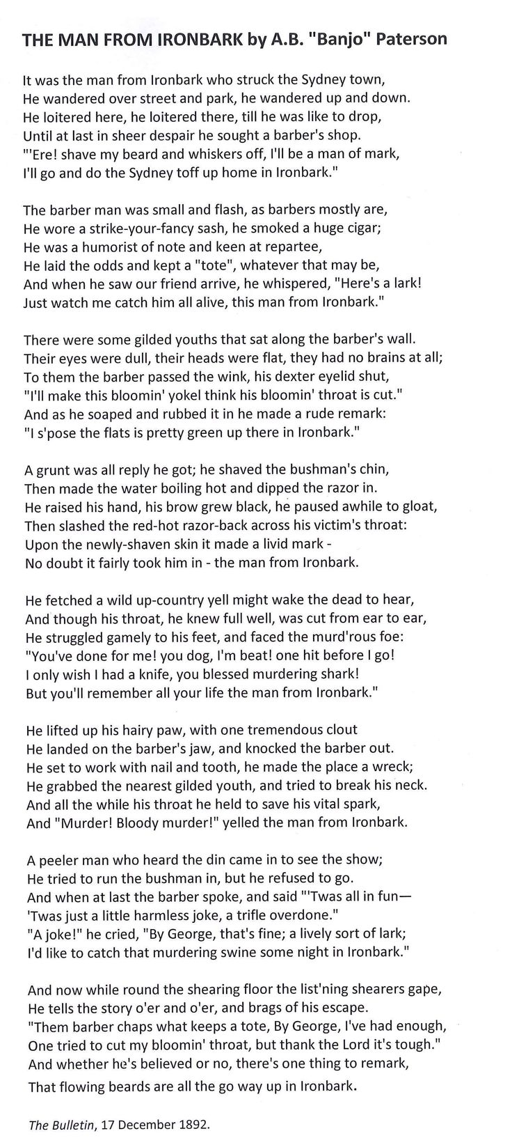 'The Man From Ironbark'.  Banjo Patterson. What a great poem.