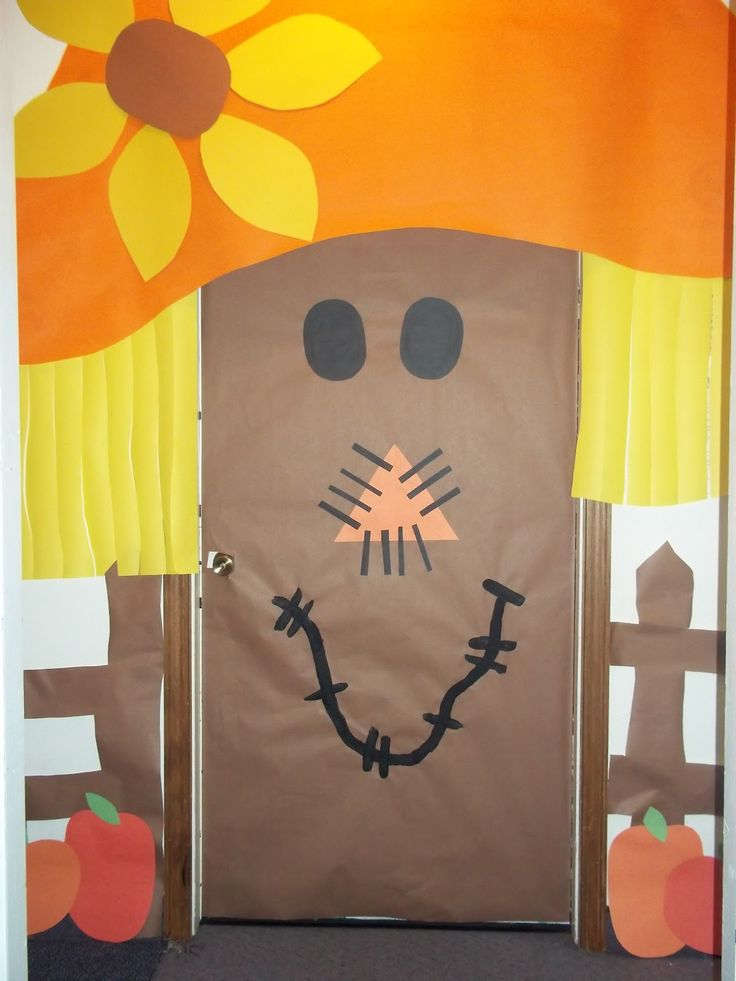 scarecrow door decoration thanksgiving classroom doorhalloween