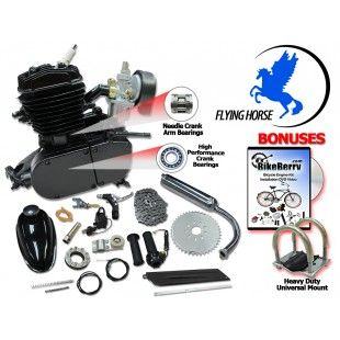 Black Angle Fire Flying Horse 66cc/80cc Bicycle Engine Kits EPA | Gas Engine KITS | Bike Engine KITS |