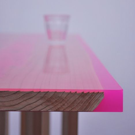 wooden tables with fluorescent/neon resin