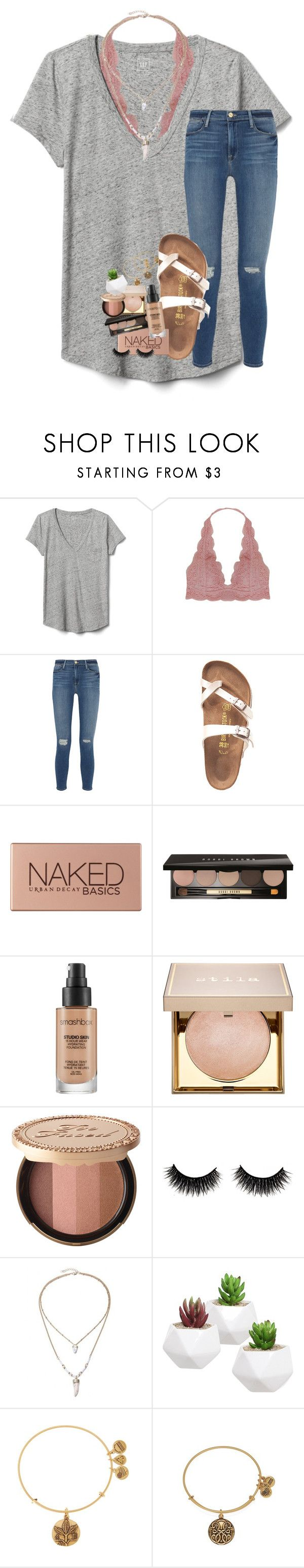 """n e s s u n d o r m a."" by lindsaygreys ❤ liked on Polyvore featuring Gap, Humble Chic, Frame, Birkenstock, Urban Decay, Bobbi Brown Cosmetics, Smashbox, Stila, Too Faced Cosmetics and Alex and Ani"