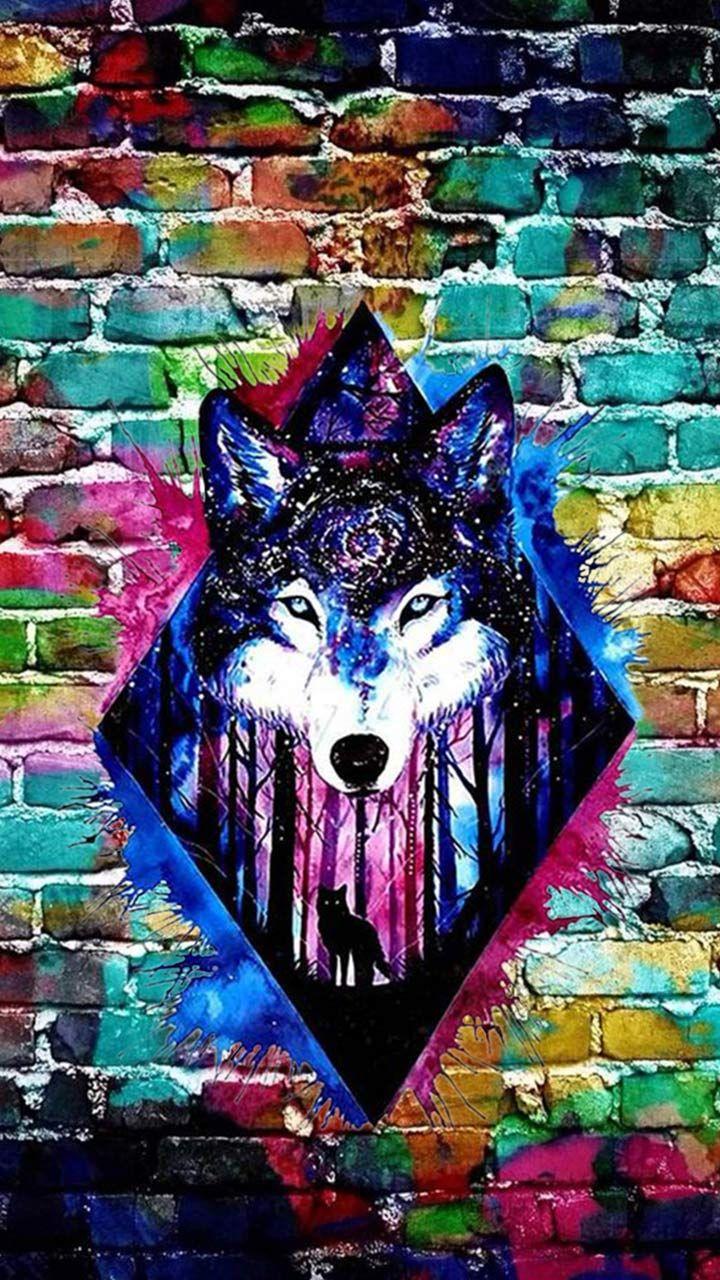 нормальная картинки с волками граффити поднятыми