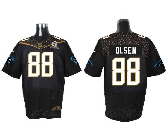 NFL Carolina Panthers #88 Olsen Black (2016 Pro Bowl) Elite Jersey