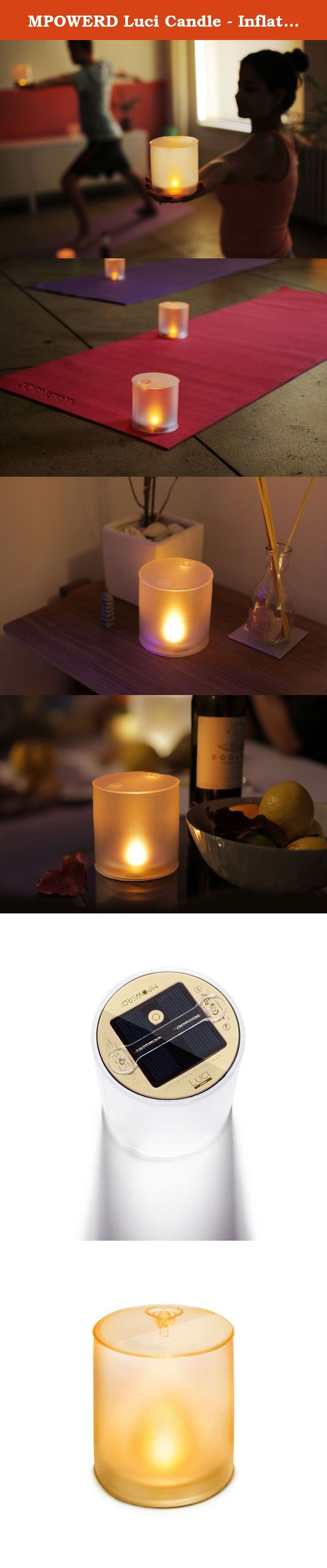MPOWERD Luci Candle - Inflatable Solar Light. Turn your space into a soothing retreat with luci candle, our most Inviting light. With a frosted finish and comforting flameless flicker, luci candle adds a touch of Zen to your patio, yoga studio or dinner table. Because it's completely Solar and lasts for hours, luci gives you peace of mind where traditional candles can't. Safely enjoy the Light's warm Amber glow in the bath, bedroom or on a bookshelf - even around kids and pets.