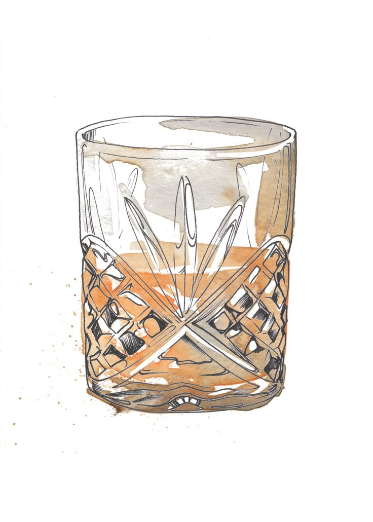 Whisky watercolour illustration. I love painting cocktails as watercolour and pen and ink works so well creating the glass and liquid. Commission your very own artwork by clicking the link.
