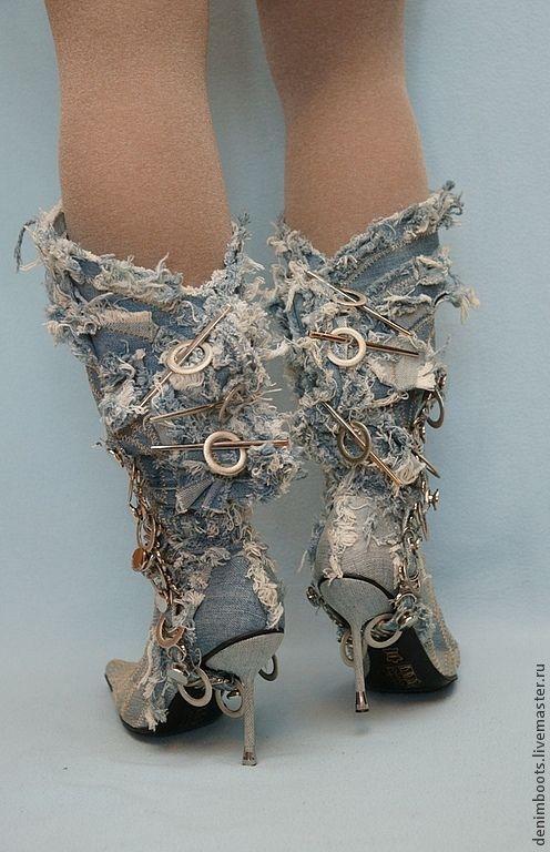 Купить Сапоги джинсовые Лохматики на шпильке - голубой, джинсовый стиль, джинсовая свадьба