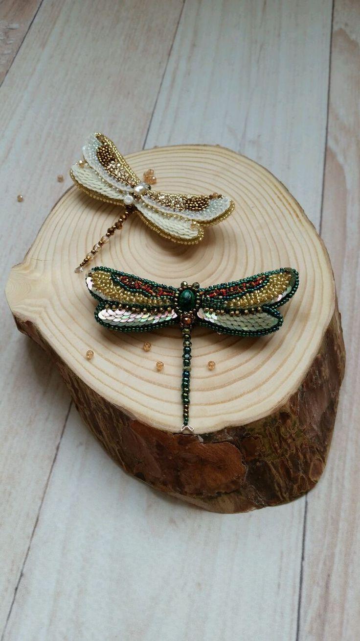 Купить Стрекоза - стрекоза, бабочка, вышивка, Вышивка бисером, вышивка канителью, вышивка пайетками, брошь