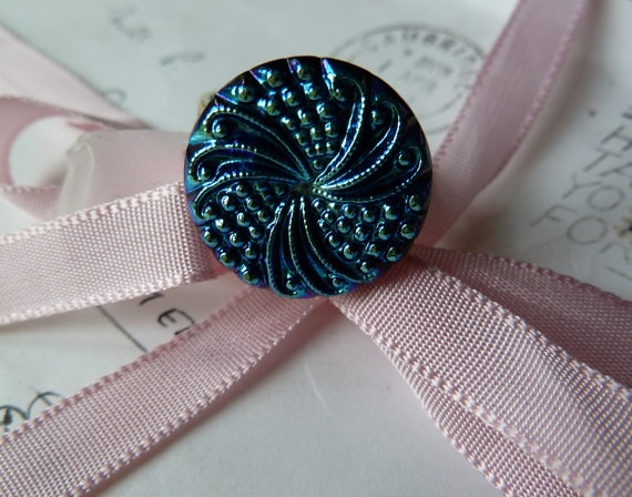 Beautiful blue textured Iridescent  vintage by morethandivine, £15.00