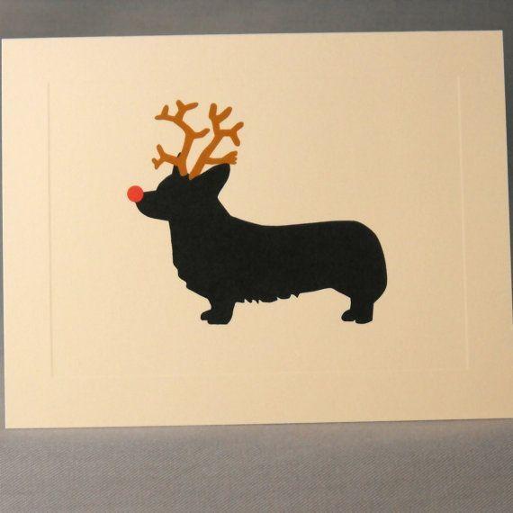 Corgi Dog Christmas Card Set by doggydesign on Etsy