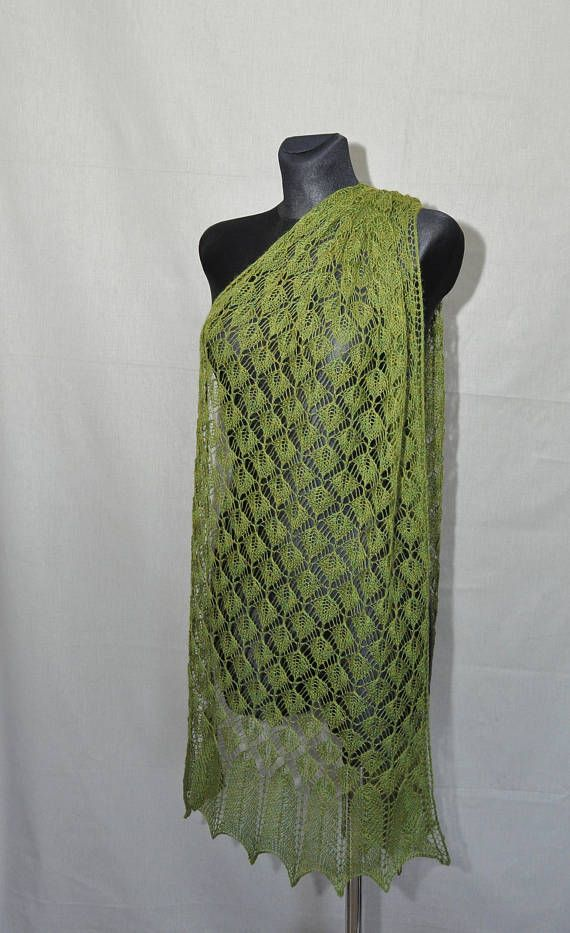 The forest veil - Greenery hand knitted lace shawl. This green lace shawl is handamde. Its made of high-quality yarn - blend of alpaca and silk. Shawl is delicate, soft and very elegant. Its very light - weights 100 g.  Color: green, forest green.  Because of different monitors and screen resolutions, color may look different on the screen than in reality.  Measurement: 186 cm x 55 cm [72.2 x 21.6].  Hand wash in lukewarm water (30° C). Dry flat and block with pins to give a shape. Please…